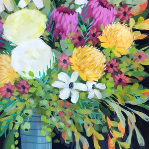 (CreativeWork) Flowers for Lorna by Clair Bremner. arcylic-painting. Shop online at Bluethumb.