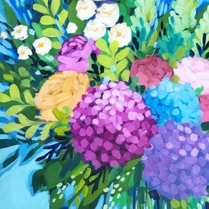 (CreativeWork) Lilas Hydrangeas by Clair Bremner. arcylic-painting. Shop online at Bluethumb.