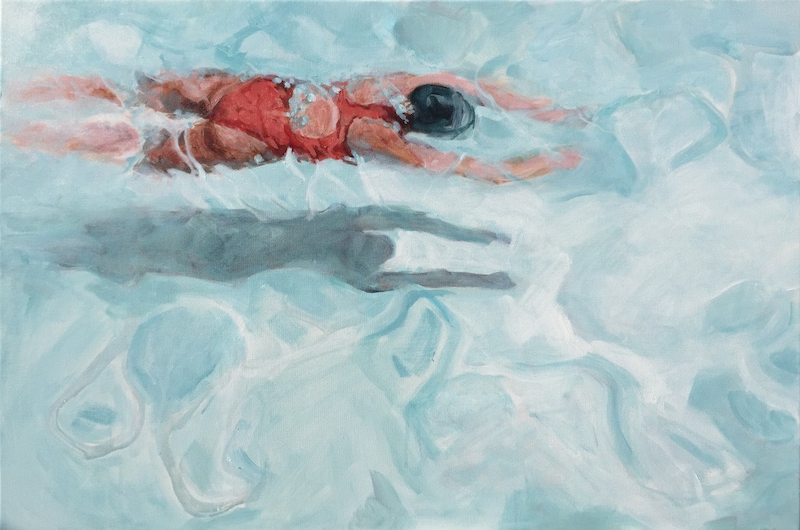 (CreativeWork) THE LAP SWIMMER by TeMoana .. arcylic-painting. Shop online at Bluethumb.
