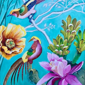 (CreativeWork) Chinoiserie and Cactus Flowers by Natasha Ruffio. arcylic-painting. Shop online at Bluethumb.