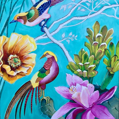 (CreativeWork) Chinoiserie and Cactus Flowers by Natasha Ruffio. Acrylic Paint. Shop online at Bluethumb.