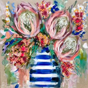 (CreativeWork) Flowering gum and king proteas  by Amanda Brooks. arcylic-painting. Shop online at Bluethumb.