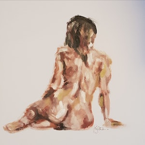 (CreativeWork) Seated woman in warm light by Katrina Okoronkwo. arcylic-painting. Shop online at Bluethumb.