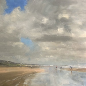 (CreativeWork) Autumn Sun - Goolwa Beach - beachscape by Mike Barr. arcylic-painting. Shop online at Bluethumb.