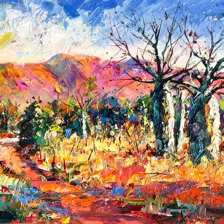 (CreativeWork) Boab Trees 6 by Jos Coufreur. Oil Paint. Shop online at Bluethumb.