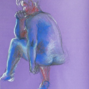 (CreativeWork) Life Drawing - Man Sitting - Blue & Red by Ishbel Morag Miller. drawing. Shop online at Bluethumb.