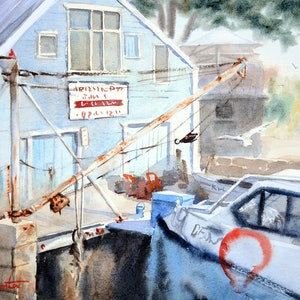 (CreativeWork) Abbotsford Pt Boatshed by Chrysovalantou Mavroudis. watercolour. Shop online at Bluethumb.