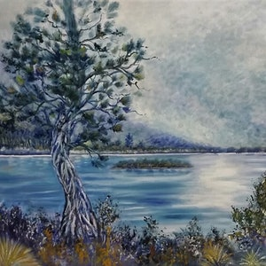 "(CreativeWork) ''Dove Lake, Tasmania"" by Susan Capan. oil-painting. Shop online at Bluethumb."