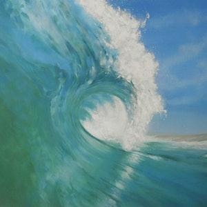 (CreativeWork) Coolmint - large wave painting by Naomi Veitch. arcylic-painting. Shop online at Bluethumb.