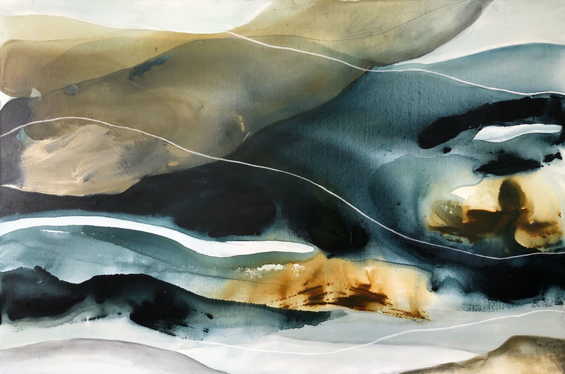 (CreativeWork) Water's Edge 2 by Dinah Wakefield. arcylic-painting. Shop online at Bluethumb.