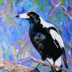 (CreativeWork) Magpie-Finalist Rotary Art Spectacular 2019 by Julie Hollis. arcylic-painting. Shop online at Bluethumb.