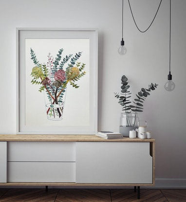(CreativeWork) Banksia and Silver Dollar in Glass Vase 2019 by Sally Browne. #<Filter:0x00005566533b1c30>. Shop online at Bluethumb.
