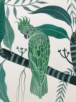 (CreativeWork) Cockatoo Verde 2019 by Sally Browne. Watercolour Paint. Shop online at Bluethumb.