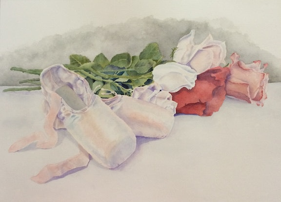 (CreativeWork) Roses et pointes by Linda Parkinson. Watercolour Paint. Shop online at Bluethumb.