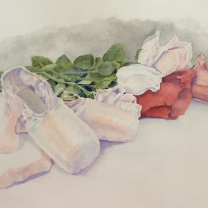 (CreativeWork) Roses et pointes by Linda Parkinson. watercolour. Shop online at Bluethumb.