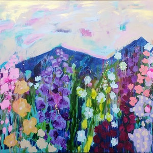 (CreativeWork) Dusk Wildflowers by Sandra Oost. arcylic-painting. Shop online at Bluethumb.