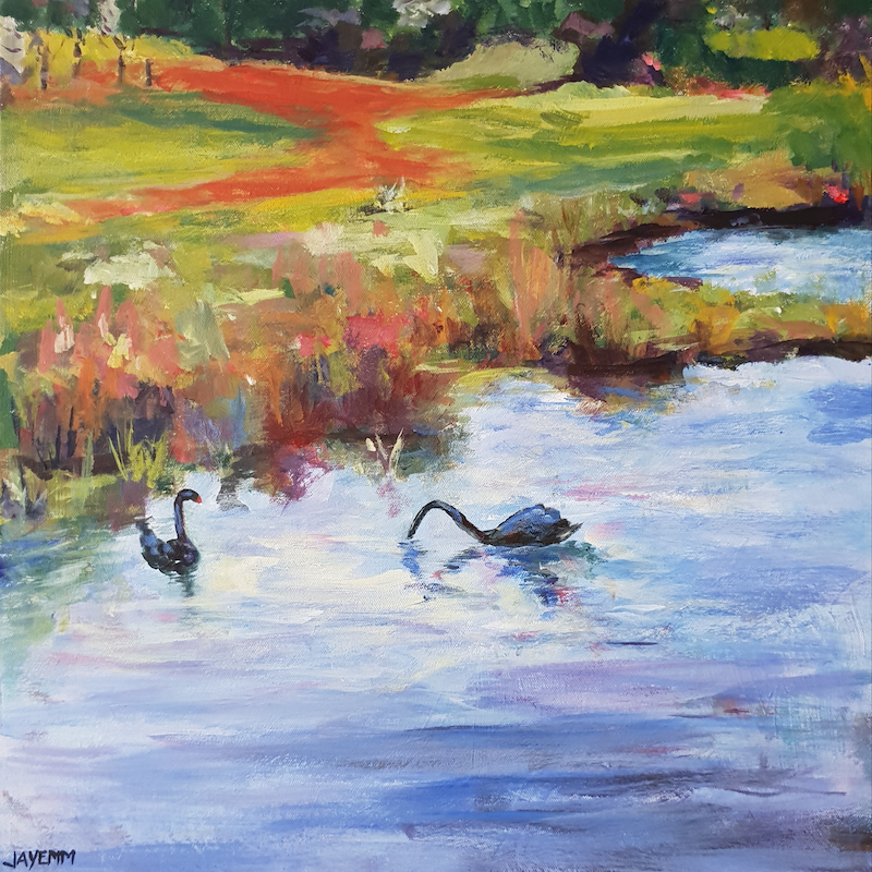 (CreativeWork) Swans on Skeleton by Jenny Moynahan. Acrylic Paint. Shop online at Bluethumb.