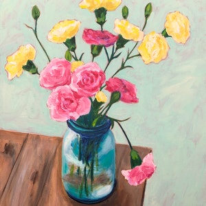 (CreativeWork) Carnations In glass Vase by John Klein. arcylic-painting. Shop online at Bluethumb.