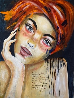 (CreativeWork) SHE by Jodie Gaul. Acrylic Paint. Shop online at Bluethumb.