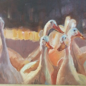 (CreativeWork) What a gaggle  by Caroline Lawrey. oil-painting. Shop online at Bluethumb.