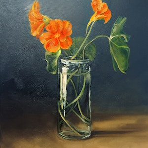 (CreativeWork) Nasturtiums in oils by Donna Christie. oil-painting. Shop online at Bluethumb.