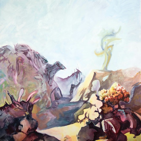(CreativeWork) The valley thought embodied stones by Harry Hughes. Oil Paint. Shop online at Bluethumb.