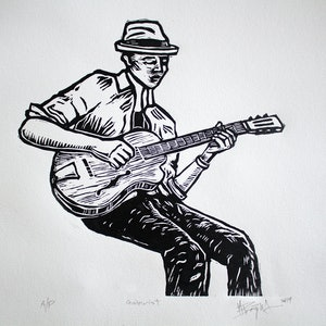 (CreativeWork) The Guitarist Ed. 15 of 15 by Matthew Broughton. #<Filter:0x00007fbcb3af2ea0>. Shop online at Bluethumb.