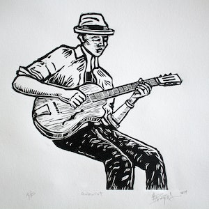 (CreativeWork) The Guitarist Ed. 15 of 15 by Matthew Broughton. Print. Shop online at Bluethumb.