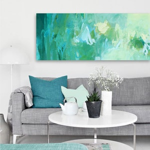 (CreativeWork) Canopy - long, large, green, blue yellow abstract by Stephanie Laine. acrylic-painting. Shop online at Bluethumb.