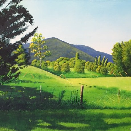 (CreativeWork) Samford Hills by David O'Halloran. Acrylic Paint. Shop online at Bluethumb.