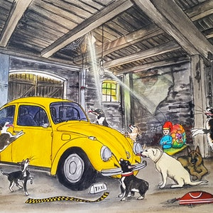 (CreativeWork) Sleeping Taxi and the Dogs by Chelle Destefano. watercolour. Shop online at Bluethumb.