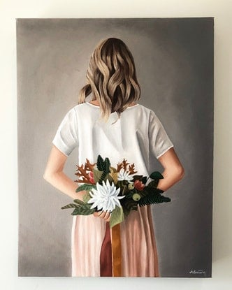 (CreativeWork) Season's Blooms by Ashley Bunting. Oil Paint. Shop online at Bluethumb.