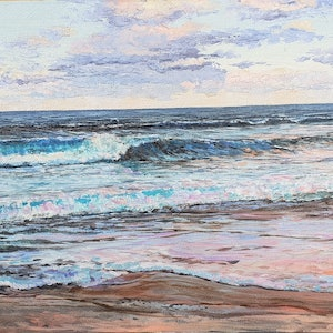 (CreativeWork) END OF DAY-COASTAL VIEW by Margaret HADFIELD. oil-painting. Shop online at Bluethumb.