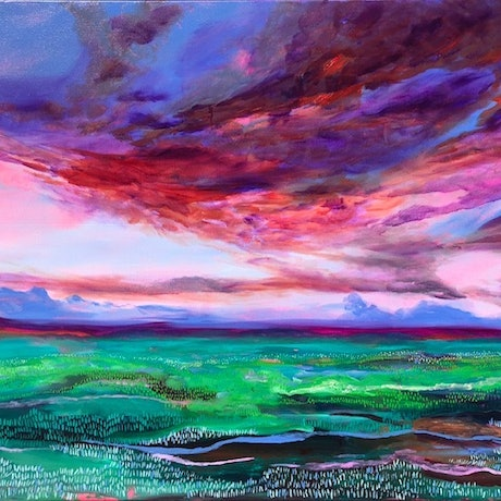 (CreativeWork) Sunrise on the Scarp by Amanda Kimberley. Oil Paint. Shop online at Bluethumb.