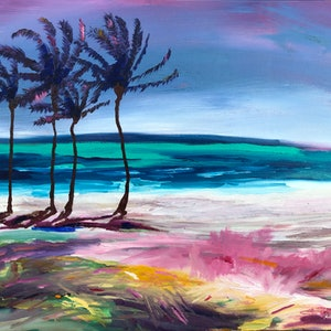 (CreativeWork) Townsville Coast by Amanda Kimberley. oil-painting. Shop online at Bluethumb.