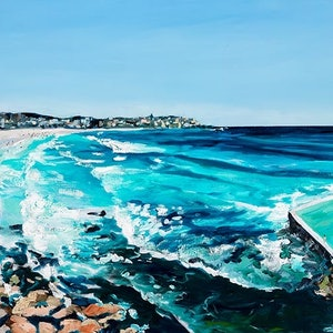 (CreativeWork) Bondi, Australia by Meredith Howse. oil-painting. Shop online at Bluethumb.
