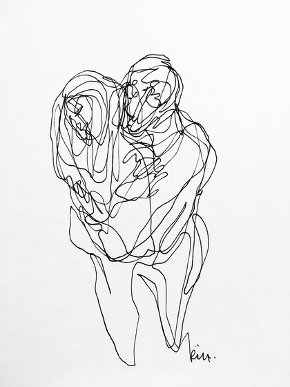 (CreativeWork) Don't Let Go - Embrace II by Irma Calabrese. drawing. Shop online at Bluethumb.
