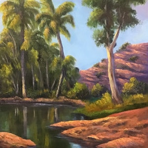 (CreativeWork) Palm Valley after the rain - Outback oil painting by Christopher Vidal. oil-painting. Shop online at Bluethumb.