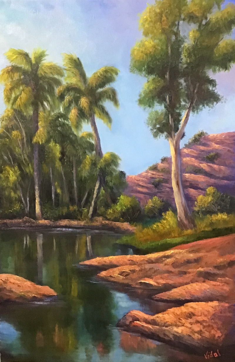 (CreativeWork) Palm Valley after the rain - Outback oil painting by Christopher Vidal. Oil Paint. Shop online at Bluethumb.