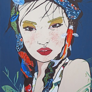 (CreativeWork) FISH HEAD GEISHA  LIMITED EDITION PRINT  1/5 Ed. 1 of 5 by Lesley Taylor. print. Shop online at Bluethumb.