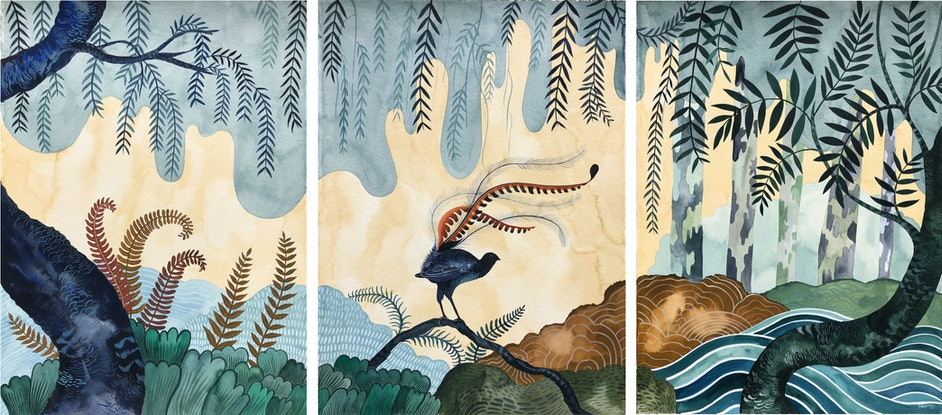 (CreativeWork) Superb Country - Triptych by Sally Browne. Watercolour Paint. Shop online at Bluethumb.