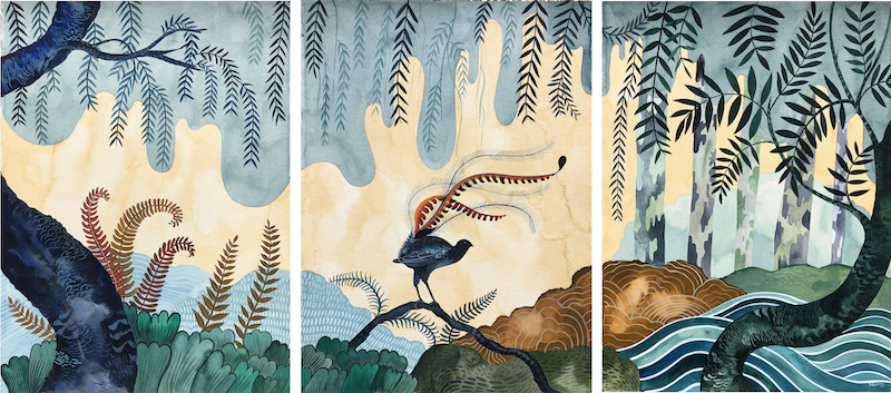 (CreativeWork) Superb Country - Triptych by Sally Browne. watercolour. Shop online at Bluethumb.