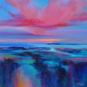 (CreativeWork) CORAL DUSK by Sandra Michele Knight. arcylic-painting. Shop online at Bluethumb.