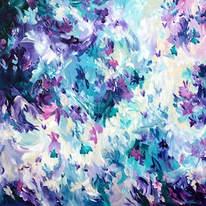 (CreativeWork) Violet Spell by Amber Gittins. arcylic-painting. Shop online at Bluethumb.