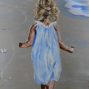 (CreativeWork) Girl with Shell by Julie Hollis. acrylic-painting. Shop online at Bluethumb.
