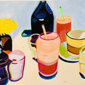 (CreativeWork) Smoothies by Alison Pilcher. acrylic-painting. Shop online at Bluethumb.