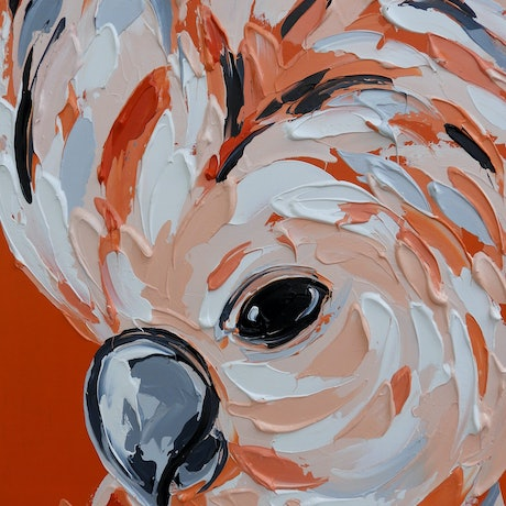 (CreativeWork) Molly the Moluccan Cockatoo  by Lisa Fahey. Acrylic Paint. Shop online at Bluethumb.