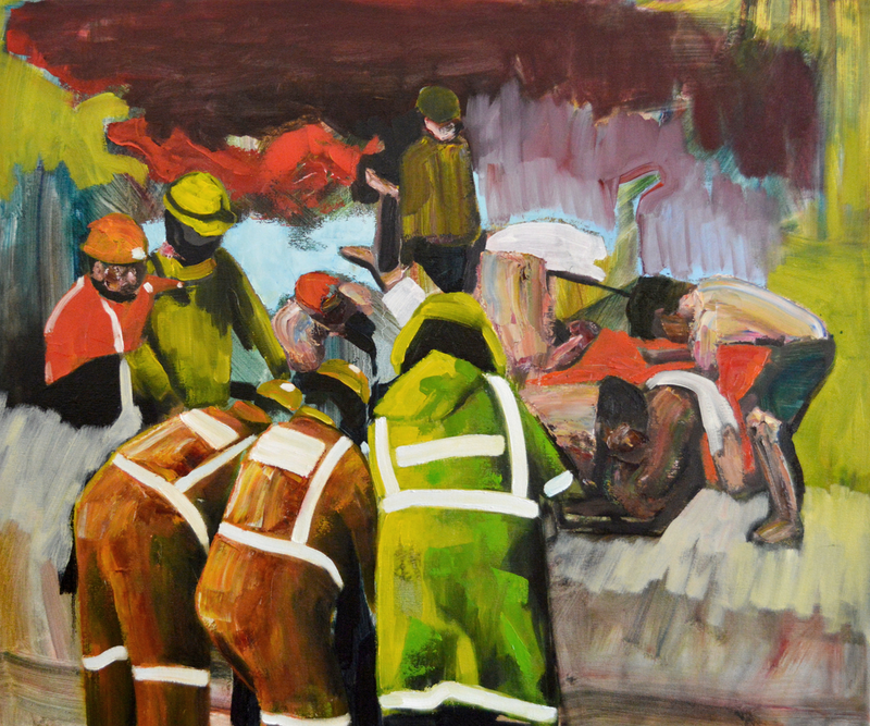 (CreativeWork) Heroics by Sarah Gosling. oil-painting. Shop online at Bluethumb.