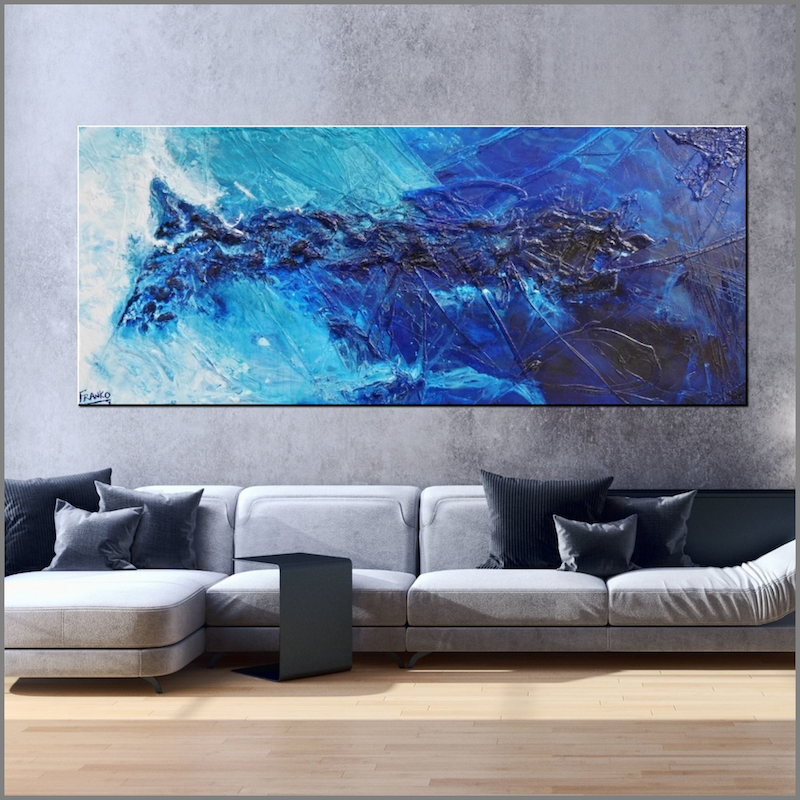 (CreativeWork) Blue Insomnia  240cm x 100cm Blue Textured Acrylic Abstract Gloss Finish FRANKO by _Franko _. arcylic-painting. Shop online at Bluethumb.