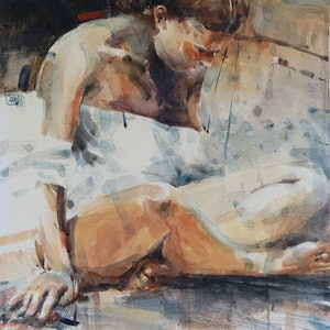 (CreativeWork) Seated by Tony Belobrajdic. watercolour. Shop online at Bluethumb.